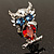 Silver Tone Stunning CZ Owl Brooch (Red & Blue) - view 5