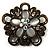 Vintage Filigree Diamante Floral Brooch (Bronze Tone)