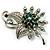 Emerald Green Crystal Floral Brooch (Silver Tone)