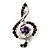Silver Tone Crystal Music Treble Clef Brooch (Violet)