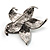 Silver Tone Sparkling Crystal Floral Brooch - view 9
