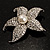 Silver Tone Sparkling Crystal Floral Brooch - view 6