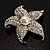 Silver Tone Sparkling Crystal Floral Brooch - view 2