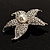 Silver Tone Sparkling Crystal Floral Brooch - view 4