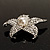 Silver Tone Sparkling Crystal Floral Brooch - view 8