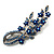Romantic Blue Austrian Crystal Floral Brooch In Silver Tone Metal - 75mm L