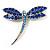 Classic Navy Blue Swarovski Crystal Dragonfly Brooch (Silver Tone)