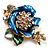 Blue Enamel Crystal Flower Brooch (Gold Tone)