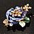 Purple Enamel Crystal Flower Brooch (Gold Tone) - view 4