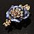 Purple Enamel Crystal Flower Brooch (Gold Tone) - view 2