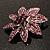 Light Purple Swarovski Crystal Bridal Corsage Brooch (Silver Tone) - view 6
