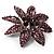 Light Purple Swarovski Crystal Bridal Corsage Brooch (Silver Tone) - view 5