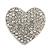 Clear Diamante Heart Brooch (Silver Tone) - 35mm Wide