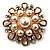 Vintage Wedding Imitation Pearl Crystal Brooch (Burn Gold Tone) - view 3
