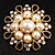 Vintage Wedding Imitation Pearl Crystal Brooch (Burn Gold Tone) - view 2