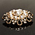 Vintage Wedding Imitation Pearl Crystal Brooch (Burn Gold Tone) - view 7