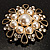 Vintage Wedding Imitation Pearl Crystal Brooch (Burn Gold Tone) - view 8