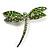Classic Grass Green Swarovski Crystal Dragonfly Brooch (Silver Tone)
