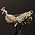 Multicoloured Crystal Peacock Brooch (Pink Gold Tone) - view 6