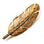 Gold Tone Clear Crystal Feather Brooch