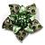 3D Enamel Crystal Flower Brooch (Light Green)