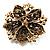 Victorian Corsage Flower Brooch (Antique Gold & Clear) - view 6