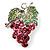 Swarovski Crystal Bunch Of Grapes Brooch (Pink & Light Green, Silver Tone)