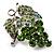 Swarovski Crystal Bunch Of Grapes Brooch (Light Green, Silver Tone)