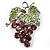 Swarovski Crystal Bunch Of Grapes Brooch (Lilac & Light Green, Silver Tone)