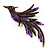 Purple Exotic Crystal Fire-Bird Brooch - view 2