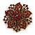 Victorian Corsage Flower Brooch (Burgundy Red & Antique Gold) - view 2