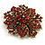 Victorian Corsage Flower Brooch (Burgundy Red & Antique Gold) - view 3