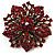 Victorian Corsage Flower Brooch (Burgundy Red & Antique Gold) - view 5