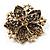 Victorian Corsage Flower Brooch (Burgundy Red & Antique Gold) - view 8