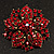 Victorian Corsage Flower Brooch (Burgundy Red & Antique Gold) - view 4