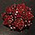 Victorian Corsage Flower Brooch (Burgundy Red & Antique Gold) - view 9