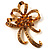 Amber Coloured Crystal Bow Corsage Brooch (Gold Tone)