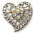 Silver Plated Crystal Filigree Heart Brooch