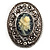 Vintage Floral Crystal Cameo Brooch (Antique Silver Finish) - view 1