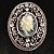 Vintage Floral Crystal Cameo Brooch (Antique Silver Finish) - view 2