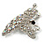 AB Diamante Butterfly Brooch (Silver Tone) - view 4