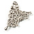 AB Diamante Butterfly Brooch (Silver Tone) - view 6