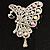 AB Diamante Butterfly Brooch (Silver Tone) - view 2