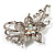 Dazzling Clear Crystal Flower Brooch (Silver Tone) - view 4