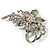 Dazzling Clear Crystal Flower Brooch (Silver Tone) - view 3