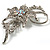 Dazzling Clear Crystal Flower Brooch (Silver Tone) - view 5