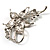 Dazzling Clear Crystal Flower Brooch (Silver Tone) - view 6