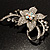 Dazzling Clear Crystal Flower Brooch (Silver Tone) - view 7