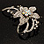Dazzling Clear Crystal Flower Brooch (Silver Tone) - view 8