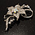 Dazzling Clear Crystal Flower Brooch (Silver Tone) - view 9